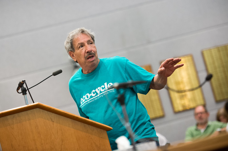 """Dan Benavidez, vice president and board member of Eco-Cycle, argues in favor of extending collections of a sales and use tax which would help fund open space acquisition and sustainability programs, during a public hearing held by the county commissioners, at the Boulder County Courthouse on Thursday.<br /> More photos:  <a href=""""http://www.dailycamera.com"""">http://www.dailycamera.com</a><br /> (Autumn Parry/Staff Photographer)<br /> July 28, 2016"""