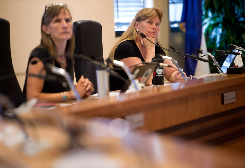 "Boulder County Commissioner Cindy Domenico (right) listens to residents' feedback during a public hearing about extending collections of a sales and use tax which would help fund open space acquisition and sustainability programs, at the Boulder County Courthouse on Thursday. <br /> More photos:  <a href=""http://www.dailycamera.com"">http://www.dailycamera.com</a><br /> (Autumn Parry/Staff Photographer)<br /> July 28, 2016"