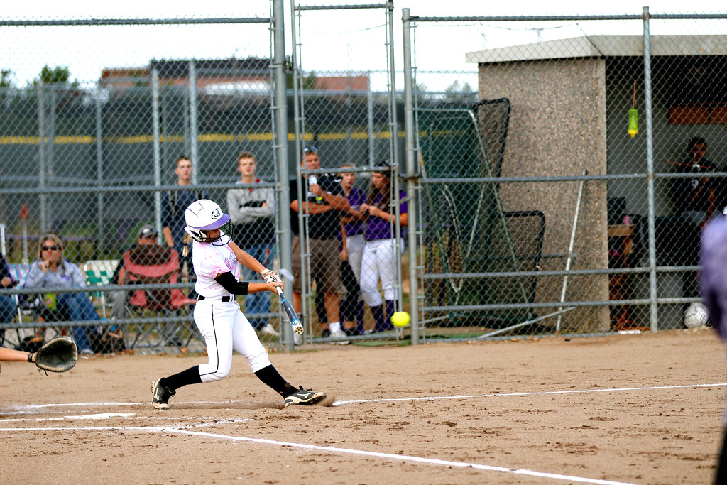 . Catcher Kaley Barker at bat against Thompson Valley. (Photo by Matthew Gaston/ Loveland Reporter- Herald)