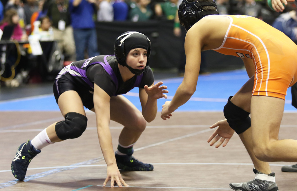 . DENVER, CO, Feb. 18 2016: Mountain View\'s Kaley Barker became the seventh girl to compete at the CHSAA state wrestling tournament. This winter, the state is experimenting with a handful of girls-only tournaments, starting with the Warrior Invitational on Jan. 14. (Photo by Kyle Newman, The Denver Post)