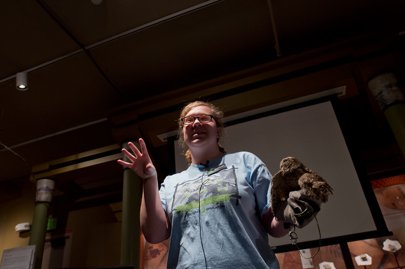 "Mackenzie Welch, a volunteer with Nature's Educators, talks about a burrowing owl named Attis, who sustained a wing injury after he was hit by a car, during the 15th Annual Wild Earth Day at the University of Colorado's Museum of Natural History on Sunday. <br /> More photos:  <a href=""http://www.dailycamera.com"">http://www.dailycamera.com</a><br /> Autumn Parry/Staff Photographer<br /> April 24, 2016"