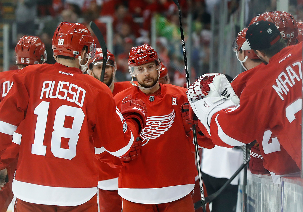 . Detroit Red Wings\' Tomas Tatar celebrates his goal against the Colorado Avalanche in the third period of an NHL hockey game Saturday, March 18, 2017, in Detroit. (AP Photo/Paul Sancya)
