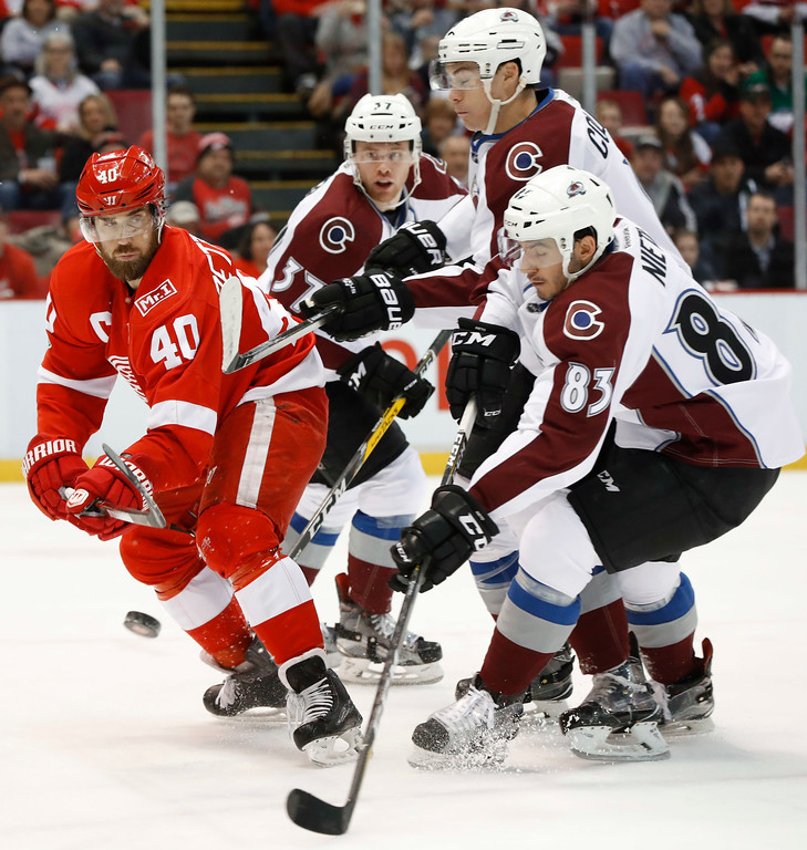 . Detroit Red Wings left wing Henrik Zetterberg (40) clears the puck from Colorado Avalanche left wing Matt Nieto (83) in the first period of an NHL hockey game Saturday, March 18, 2017, in Detroit. (AP Photo/Paul Sancya)