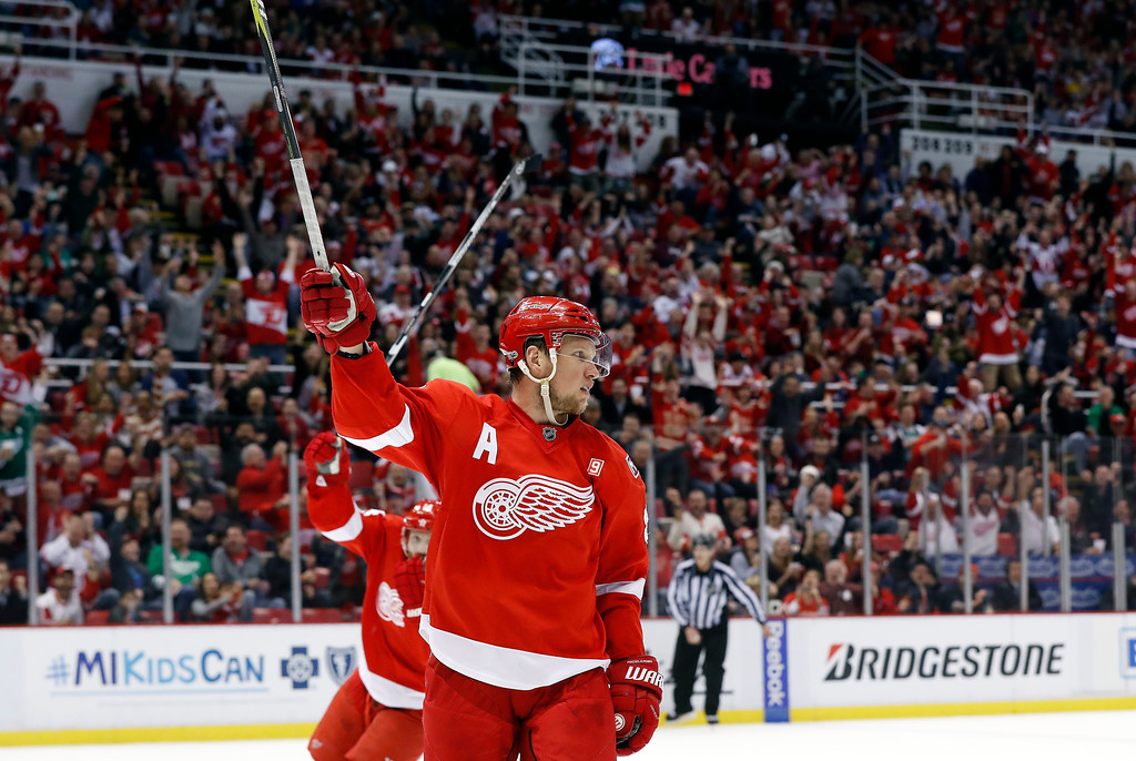 . Detroit Red Wings\' Justin Abdelkader (8) celebrates his goal against the Colorado Avalanche in the second period of an NHL hockey game Saturday, March 18, 2017, in Detroit. (AP Photo/Paul Sancya)