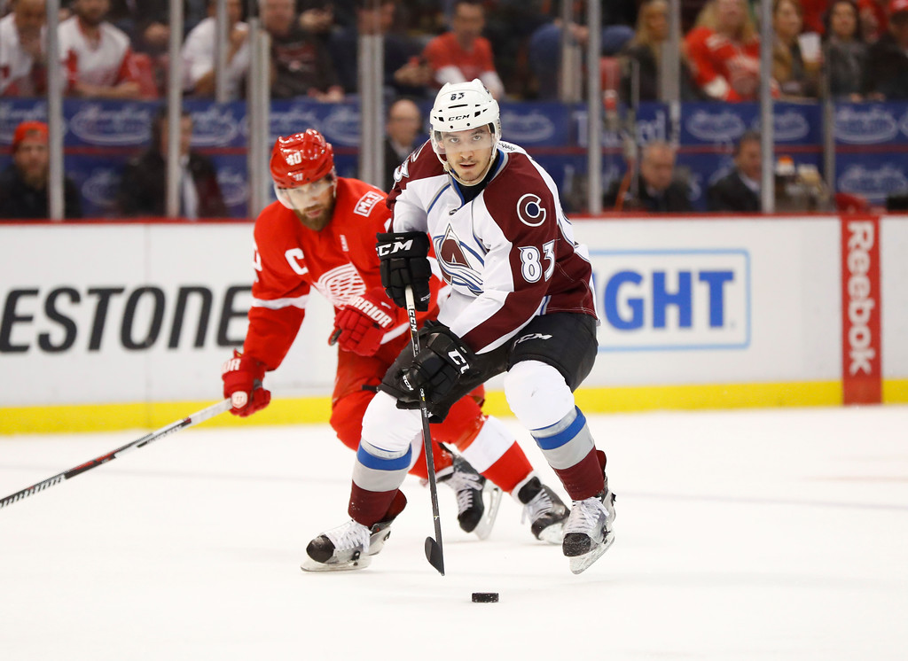 . Colorado Avalanche left wing Matt Nieto (83) skates against the Detroit Red Wings in the second period of an NHL hockey game Saturday, March 18, 2017, in Detroit. (AP Photo/Paul Sancya)