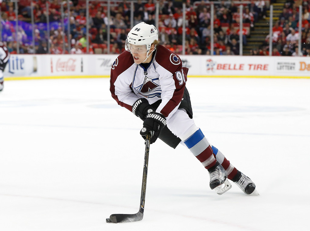 . Colorado Avalanche right wing Mikko Rantanen (96) skates against the Detroit Red Wings in the first period of an NHL hockey game Saturday, March 18, 2017, in Detroit. (AP Photo/Paul Sancya)