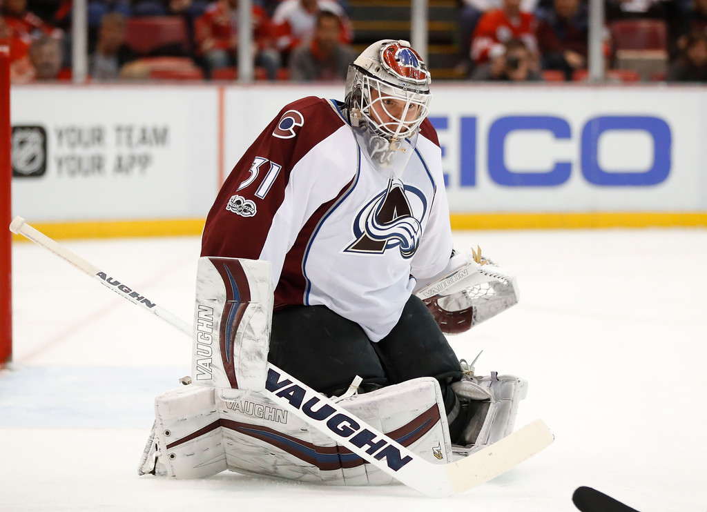 . Colorado Avalanche goalie Calvin Pickard (31) plays against the Detroit Red Wings in the second period of an NHL hockey game Saturday, March 18, 2017, in Detroit. (AP Photo/Paul Sancya)
