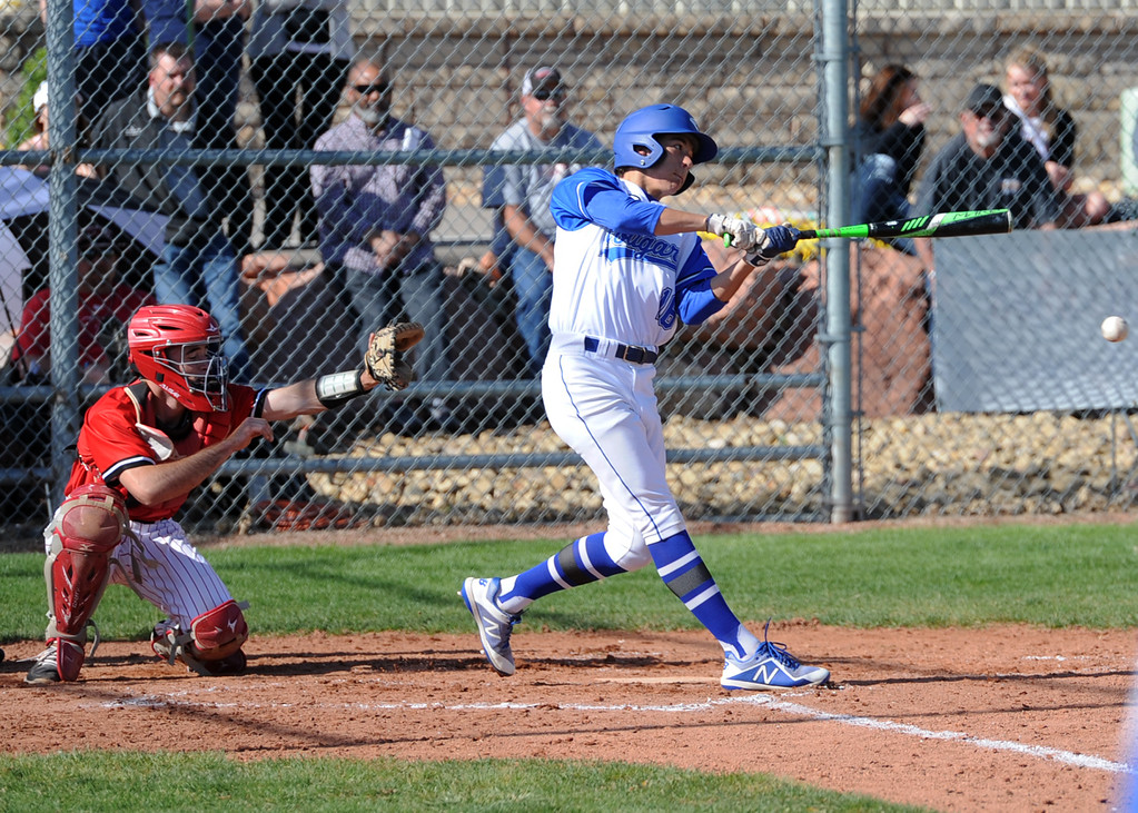 . Resurrection Christian\'s Zach Cook makes contact during a game against Eaton on Friday, May 4, 2018 at Resurrection Christian School in Loveland. (Sean Star/Loveland Reporter-Herald)