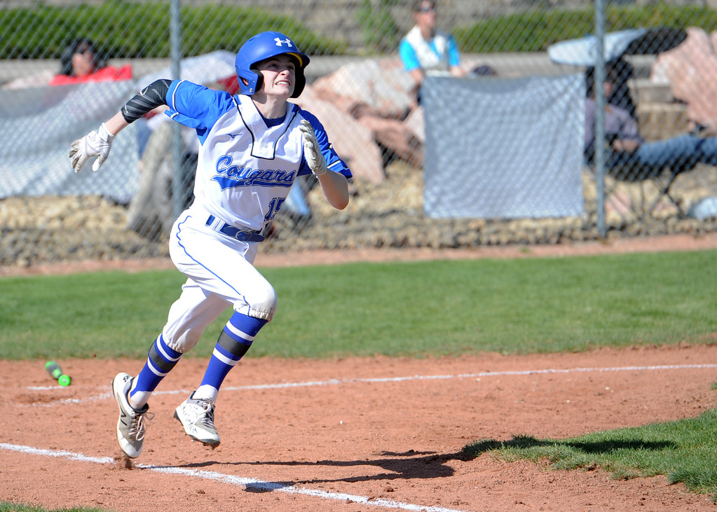 . Resurrection Chritian\'s Ethan Reeser runs to first base during a game against Eaton on Friday, May 4, 2018 at Resurrection Christian School in Loveland. (Sean Star/Loveland Reporter-Herald)