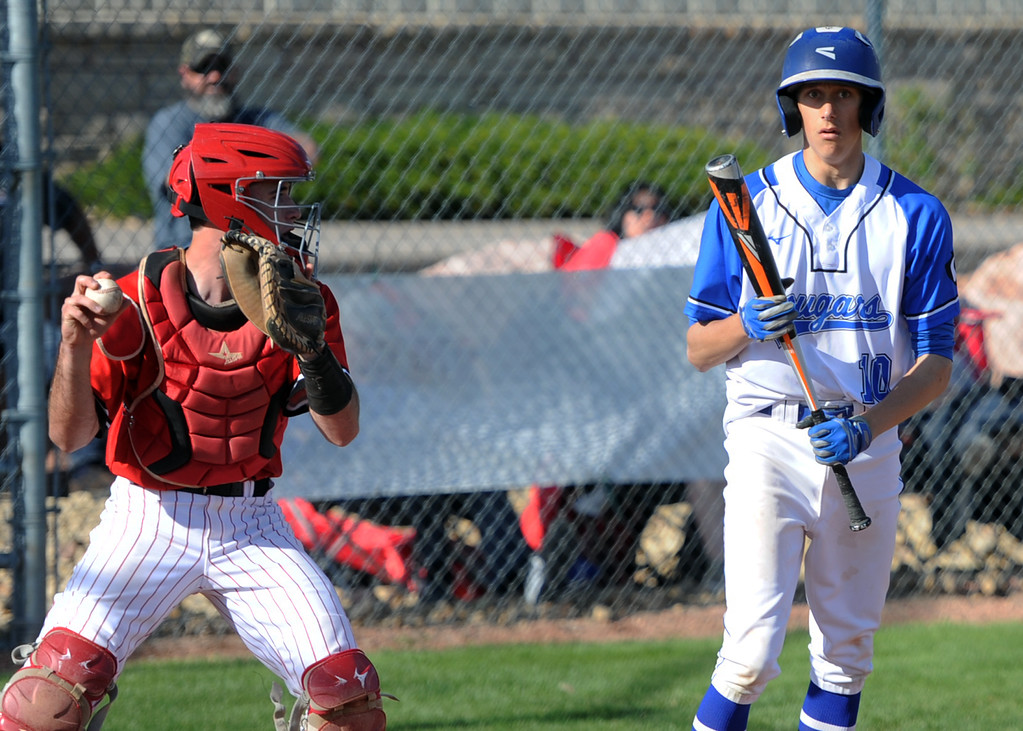 . Resurrection Christian batter Nate Santini can\'t believe a called third strike as Eaton catcher Ryder Rich gets ready to throw the ball around during Eaton\'s 7-1 win Friday at RCS. (Sean Star/Loveland Reporter-Herald)