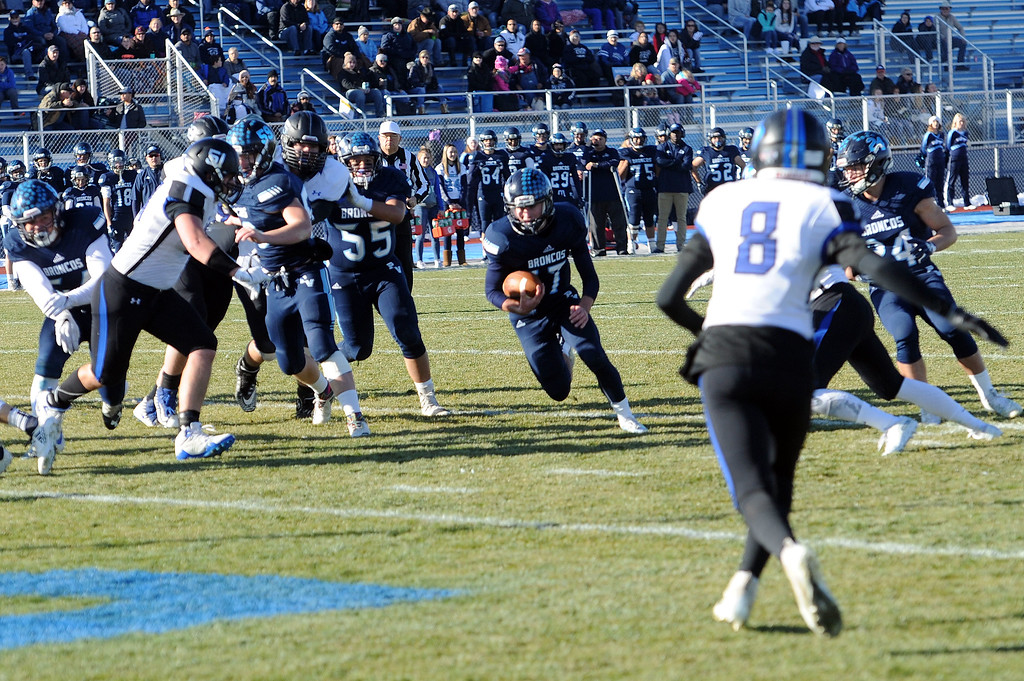 . Platte Valley quarterback Trevon Wehrman finds a hole into the end zone against Resurrection Christian on Sunday, Nov. 18, 2018. (Colin Barnard/Loveland Reporter-Herald)