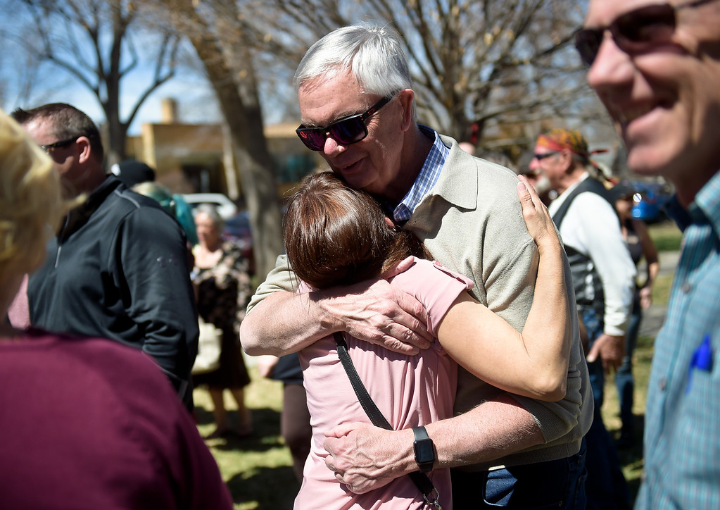 . LONGMONT, CO - APRIL 7: Public Safety Chief Mike Butler hugs Rita Gutierrez-Garcia\'s mother Diane Romero during Gutierrez-Garcia\'s birthday celebration and memorial bench dedication April 7, 2019 at Thompson Park. Gutierrez-Garcia disappeared over a year ago. To view more photos visit timescall.com. (Photo by Lewis Geyer/Staff Photographer)