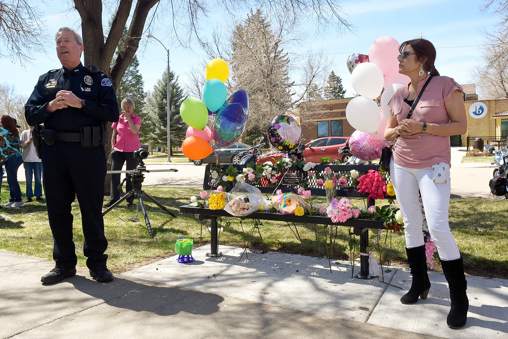 . LONGMONT, CO - APRIL 7: Longmont Police Department deputy chief Jeff Satur and Rita Gutierrez-Garcia\'s mother Diane Romero address the crowd gathered for Gutierrez-Garcia\'s birthday celebration and memorial bench dedication April 7, 2019 at Thompson Park. Gutierrez-Garcia disappeared over a year ago. To view more photos visit timescall.com. (Photo by Lewis Geyer/Staff Photographer)