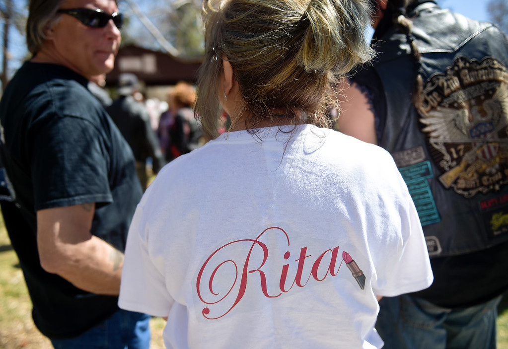 . LONGMONT, CO - APRIL 7: Family friend Eileen Egger wears a Rita Gutierrez-Garcia t-shirt during Gutierrez-Garcia\'s birthday celebration and memorial bench dedication April 7, 2019 at Thompson Park. Gutierrez-Garcia disappeared over a year ago. To view more photos visit timescall.com. (Photo by Lewis Geyer/Staff Photographer)