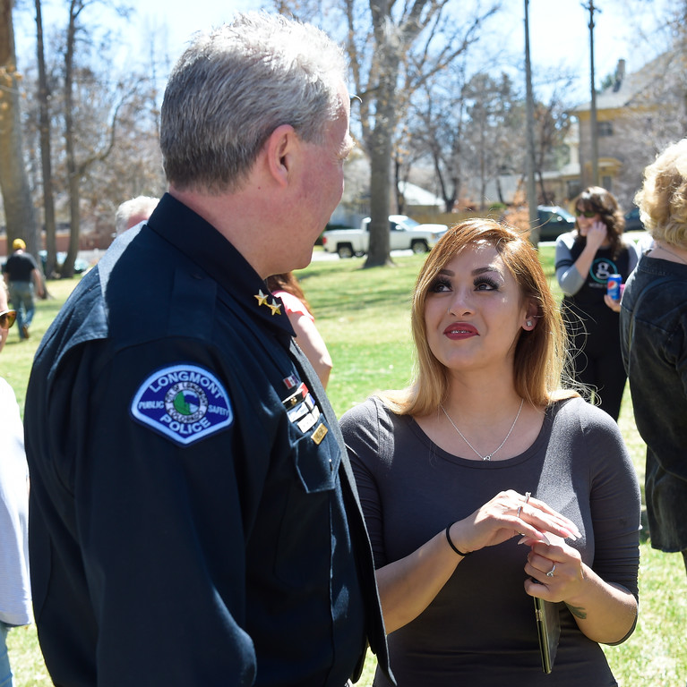 . LONGMONT, CO - APRIL 7: Rita Gutierrez-Garcia\'s sister Jessica Reyes talks with Longmont Police Department deputy chief Jeff Satur during Gutierrez-Garcia\'s birthday celebration and memorial bench dedication April 7, 2019 at Thompson Park. Gutierrez-Garcia disappeared over a year ago. To view more photos visit timescall.com. (Photo by Lewis Geyer/Staff Photographer)