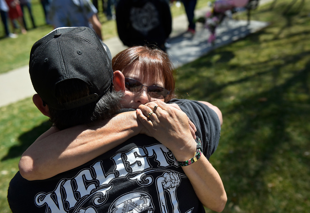 . LONGMONT, CO - APRIL 7: Rita Gutierrez-Garcia\'s mother Diane Romero hugs friend George Contreras during Rita\'s birthday celebration and memorial bench dedication April 7, 2019 at Thompson Park. Gutierrez-Garcia disappeared over a year ago. To view more photos visit timescall.com. (Photo by Lewis Geyer/Staff Photographer)