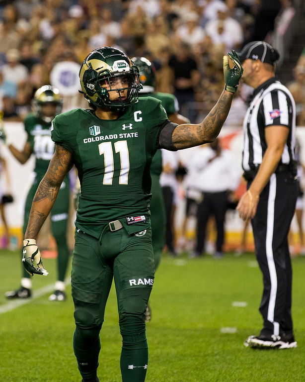 . Colorado State safety Jordan Fogal (11) calls for more noise from Ram\'s fans during the Rocky Mountain Showdown Friday evening August 31, 2018 at Sports Authority Field in Denver. (Michael Brian/For the Reporter-Herald)