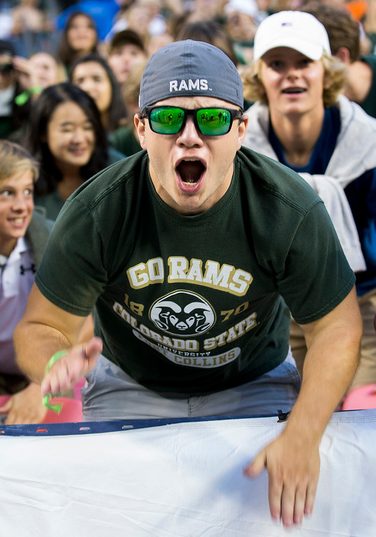 . Colorado State fans get fired up before the start of the Rocky Mountain Showdown Friday evening August 31, 2018 at Sports Authority Field in Denver. (Michael Brian/For the Reporter-Herald)