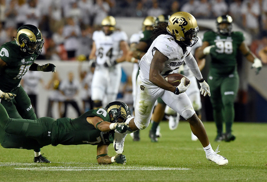 . DENVER, CO - AUGUST 31, 2018: University of Colorado\'s Lavish Shenault Jr. runs the ball after making a catch during the Rocky Mountain Showdown football game against Colorado State University on Friday at Bronco\'s Stadium at Mile High in Denver. More photos: BoCoPreps.com (Photo by Jeremy Papasso/Staff Photographer)