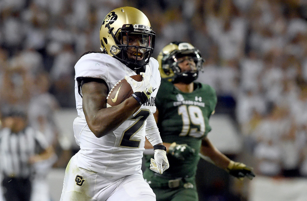 . DENVER, CO - AUGUST 31, 2018: University of Colorado\'s Lavish Shenault Jr. runs for a touchdown after making a catch during the Rocky Mountain Showdown football game against Colorado State University on Friday at Bronco\'s Stadium at Mile High in Denver. More photos: BoCoPreps.com (Photo by Jeremy Papasso/Staff Photographer)