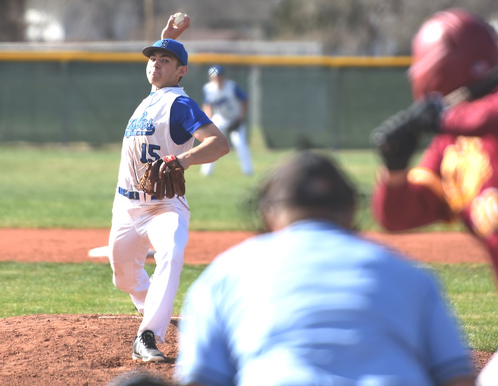 . Broomfield starter Zach Macosko delivers a pitch during the Eagles\' game against Rocky Mountain on Thursday, April 12, at Broomfield High School.