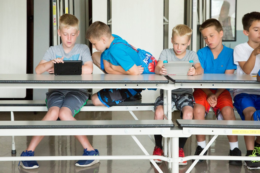 . Friends (from left) Liam Brennan, Michael Christopher Pond, Logan Anderson, Christian Greski, and Tyson Rivers play video games together. (Rachel Wisniewski -- For Digital First Media)