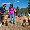 "Charlie Schmidtmann and his dog Clyde meet up with Sharon Anderson and her dogs as a search party gathers at Betasso Preserve on Saturday to begin looking for Geno, Schmidtmann's St. Bernard who went missing during the Cold Springs Fire. <br /> More photos:  <a href=""http://www.dailycamera.com"">http://www.dailycamera.com</a><br /> (Autumn Parry/Staff Photographer)<br /> July 23, 2016"