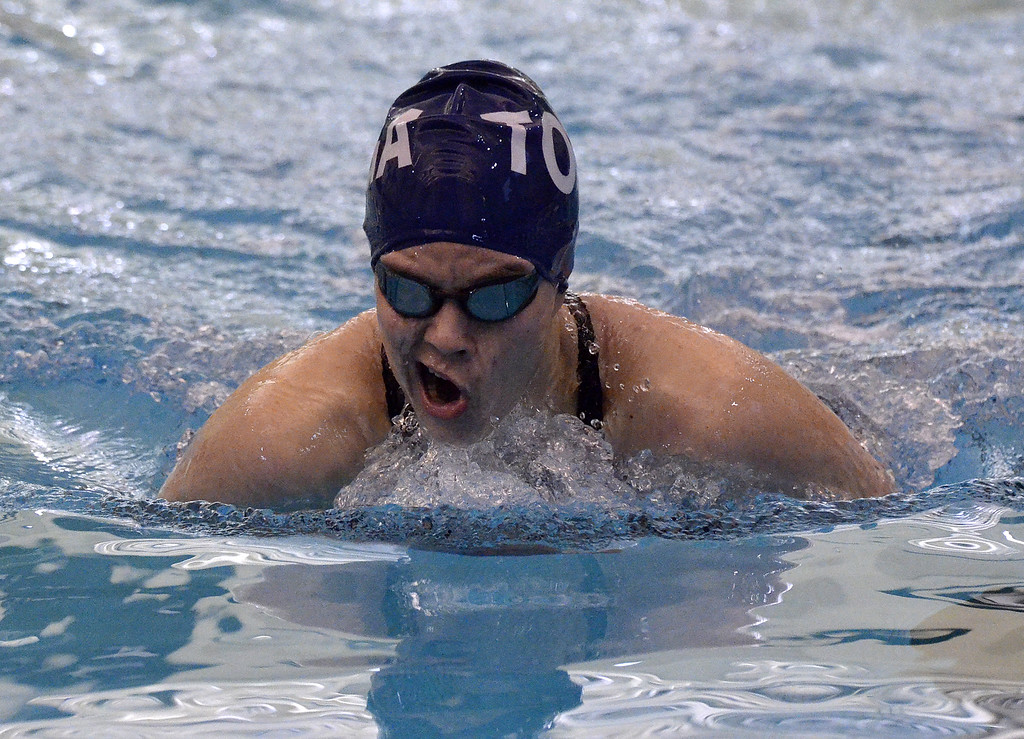 . Saratoga Springs senior Madeline Yuhasz comes breaks the surface of the water at the Shenendehowa pool during the breaststroke leg of the 200-yard individual medley Saturday afternoon.