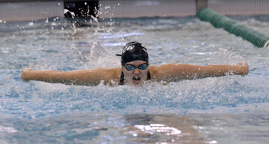 . Shenendehowa senior Shauna Killane comes up and out of the water during the butterfly leg of the 200-yard individual medley final heat Saturday during the Section 2 Division 1 final.