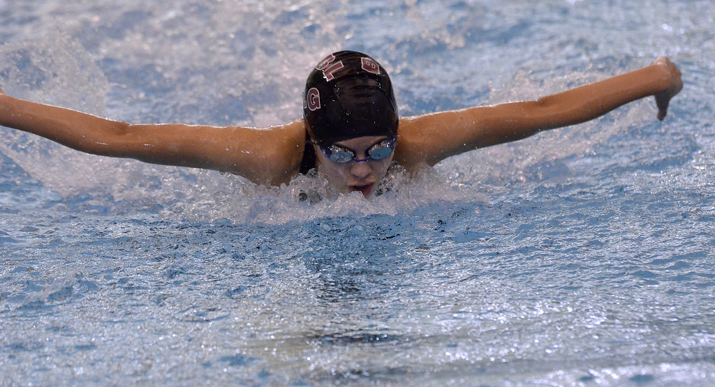 . Burnt Hills-Ballston lake freshman Ally Frame comes up and out of the water during the 200-yard individual medley Saturday afternoon.