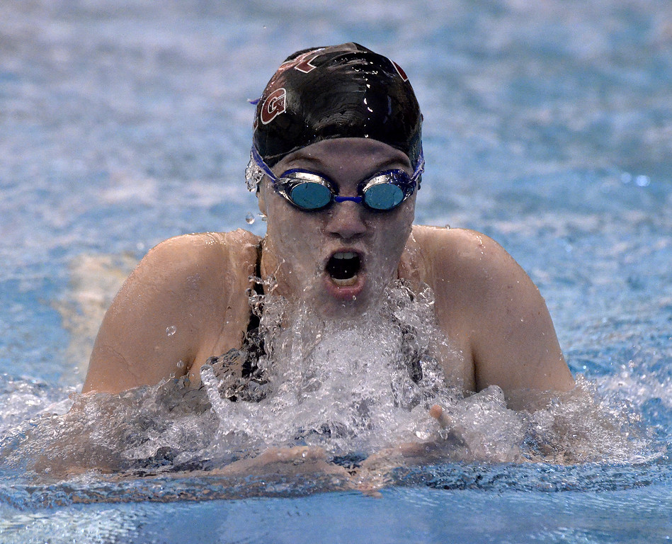 . Burnt Hills-Ballston lake senior Abby Bacon breaks the surface of the Shenendehowa pool during the breaststroke leg of the 200-yard individual medley final heat Saturday afternoon.