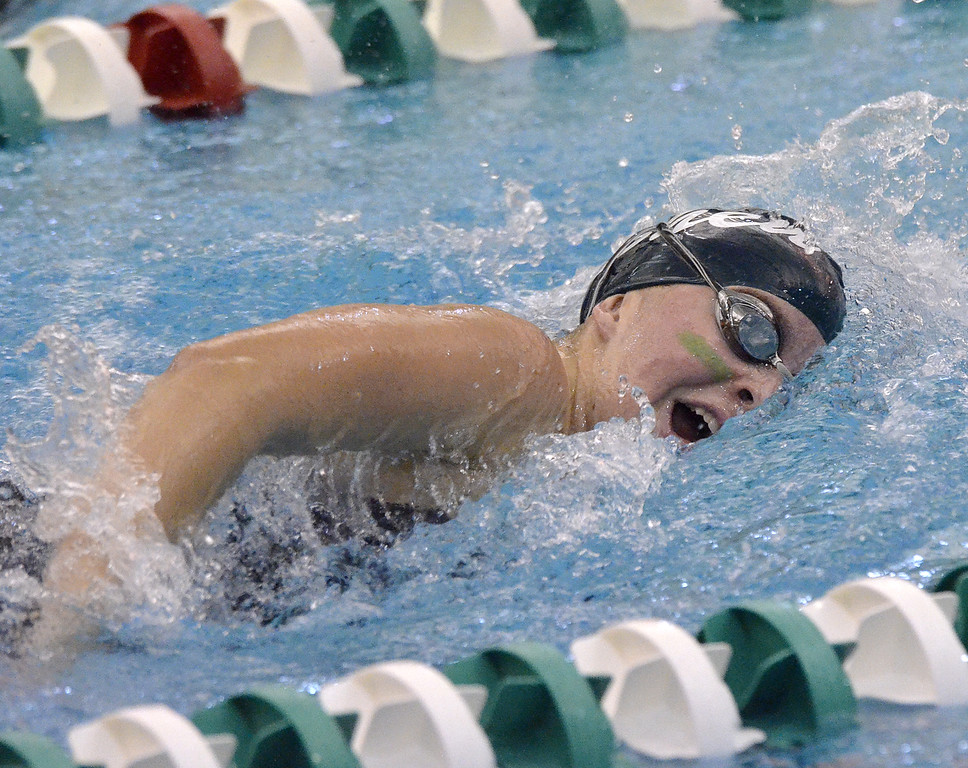 . Shenendehowa senior Lauren Sposili turns her head out of the water duringg the championship final of the 500-freestyle Saturday afternoon.