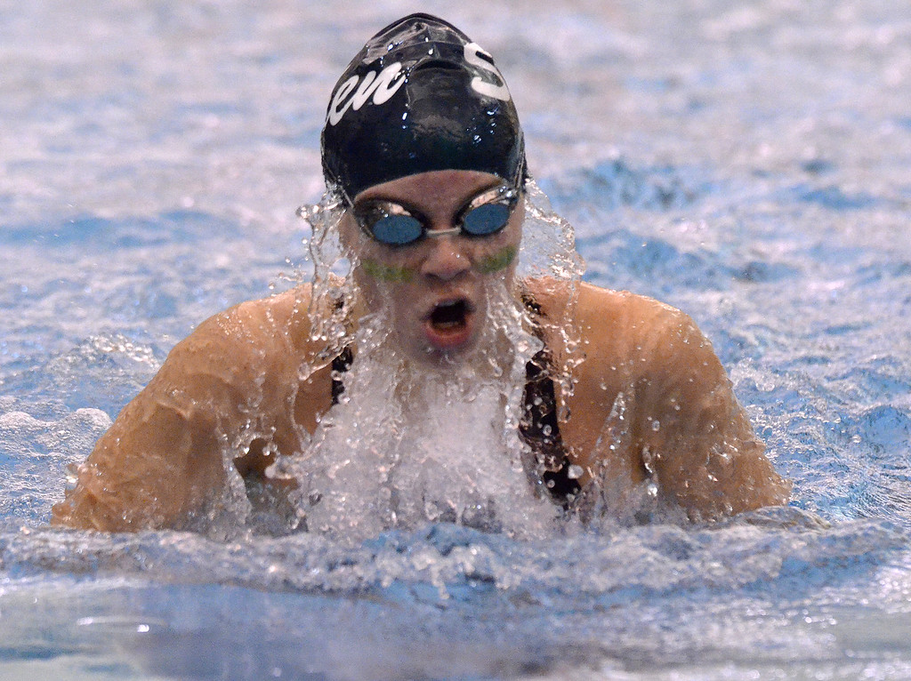 . Shenendehowa senior Lauren Sposili comes up and out of the water during the championship final of the 100-yard breaststroke Saturday afternoon at the Division I Section 2 swim championships.