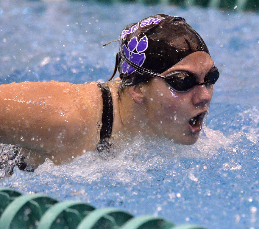 . Ballston Spa senior Tierra Damico heads towards the wall during the second heat of Saturday\'s Section 2 Division I 100-yard butterfly final.