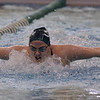 Shenendehowa junior Taylor Pazderski breaks the surface during the first heat of the 100-yard butterfly Saturday afternoon during the Section 2 Division I finals.