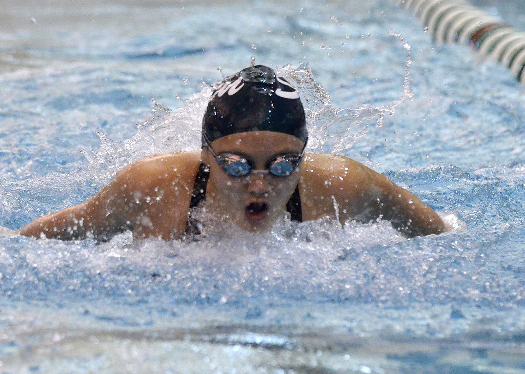 . Shenendehowa sophomore Shannon Waryncia bomes out of the water during the final heat of the 100-yard butterfly event Saturday at the Sectoin 2 Division I finals.