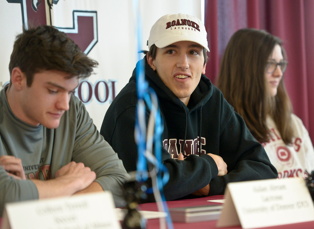 . LONGMONT, CO - FEBRUARY 6: Ben Warn during Silver Creek High School\'s signing day ceremony February 6, 2019. Warn is signing to play lacrosse at Roanoke College. To view more photos visit timescall.com. (Photo by Lewis Geyer/Staff Photographer)
