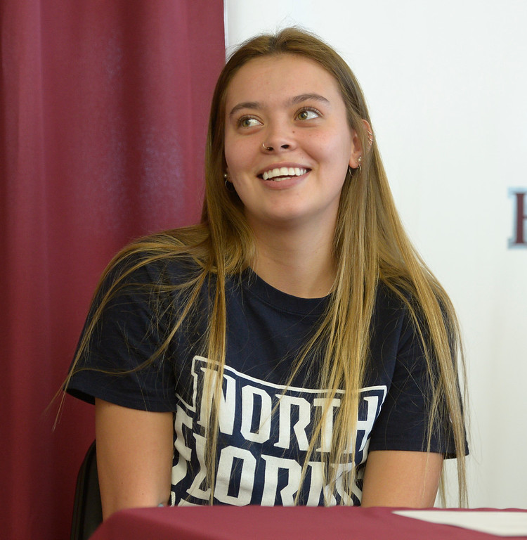 . LONGMONT, CO - FEBRUARY 6: Kayla Harper during Silver Creek High School\'s signing day ceremony February 6, 2019. Harper is signing to play softball at the University of North Florida. To view more photos visit timescall.com. (Photo by Lewis Geyer/Staff Photographer)