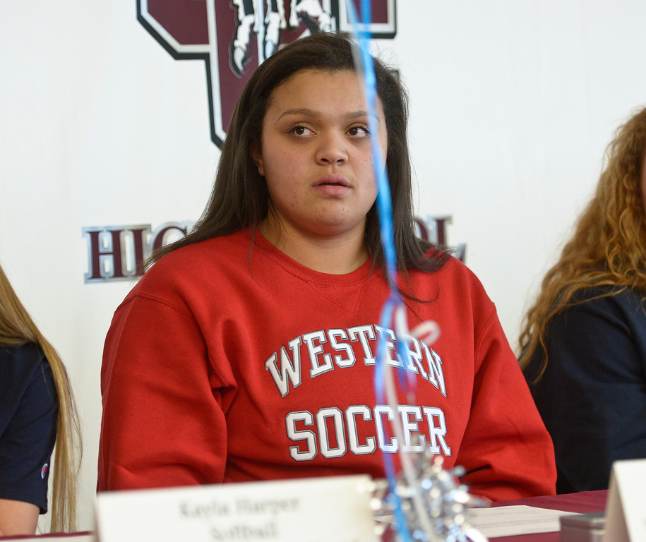 . LONGMONT, CO - FEBRUARY 6: Greta Goldsberry during Silver Creek High School\'s signing day ceremony February 6, 2019. Goldsberry is signing to play soccer at Western State Colorado University. To view more photos visit timescall.com. (Photo by Lewis Geyer/Staff Photographer)