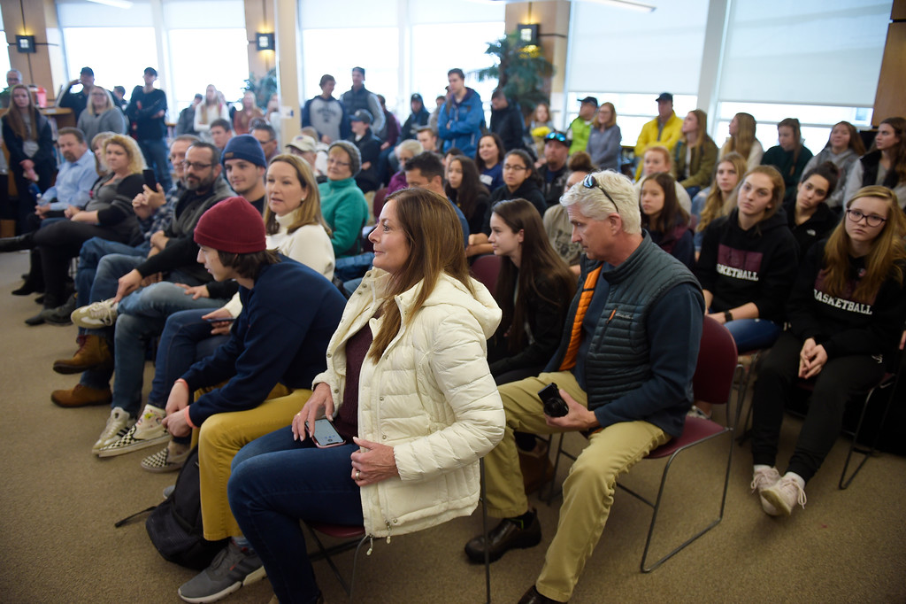 . LONGMONT, CO - FEBRUARY 6: The audience for Silver Creek High School\'s signing day ceremony February 6, 2019. To view more photos visit timescall.com. (Photo by Lewis Geyer/Staff Photographer)