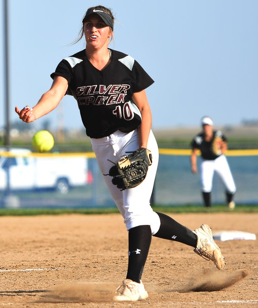 Silver Creek's Jetta Nannen delivers a pitch during the Raptors' game against Mountain View on Tuesday at Mountain View High School in Loveland.