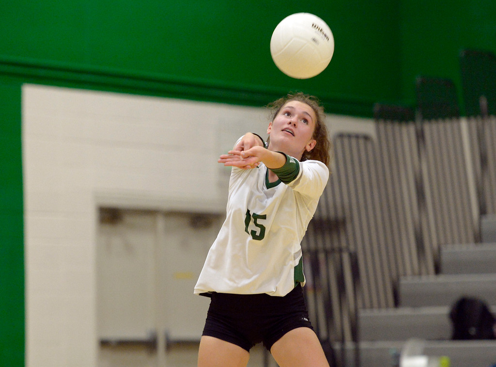 . NIWOT, CO - SEPTEMBER 11, 2018: Niwot\'s Natasha Terekhova bumps the ball in the second game against Silver Creek at Niwot High School Sep. 11. Niwot won in three games. (Photo by Lewis Geyer/Staff Photographer)