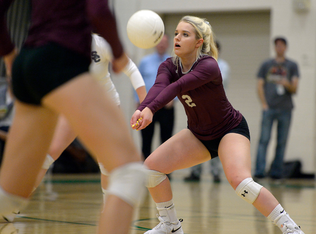 . NIWOT, CO - SEPTEMBER 11, 2018: Silver Creek\'s Chloe Schmid bumps the ball during the second game against Niwot at Niwot High School Sep. 11. Niwot won in three games. (Photo by Lewis Geyer/Staff Photographer)