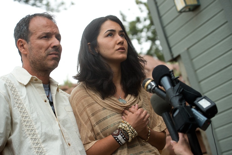 "Sitora Yusufiy, the ex-wife of Orlando shooting suspect Omar Mateen, and her fiance Marcio Dias give a statement to the media at their home outside Boulder on Sunday.<br /> For more photos go to  <a href=""http://www.dailycamera.com"">http://www.dailycamera.com</a><br /> (Autumn Parry/Staff Photographer)<br /> June 12, 2016"
