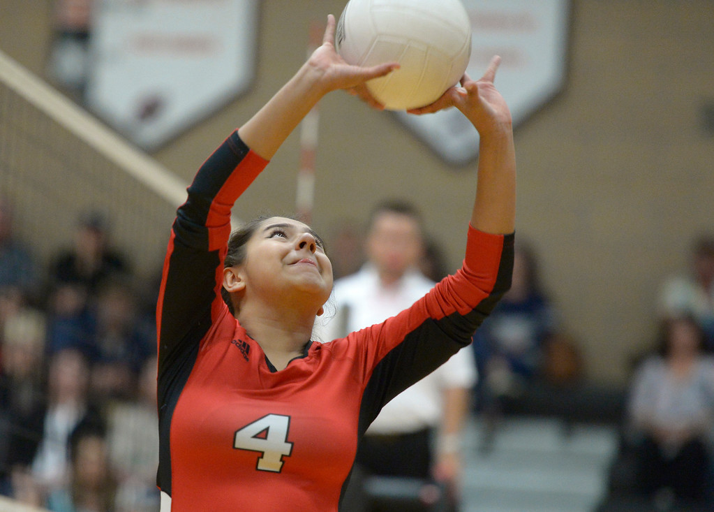 . Skyline\'s Kamilah Bugarin sets the ball in the second set against Erie Tuesday night at Erie High School. To view more photos visit bocopreps.com. Lewis Geyer/Staff Photographer Oct. 24, 62017