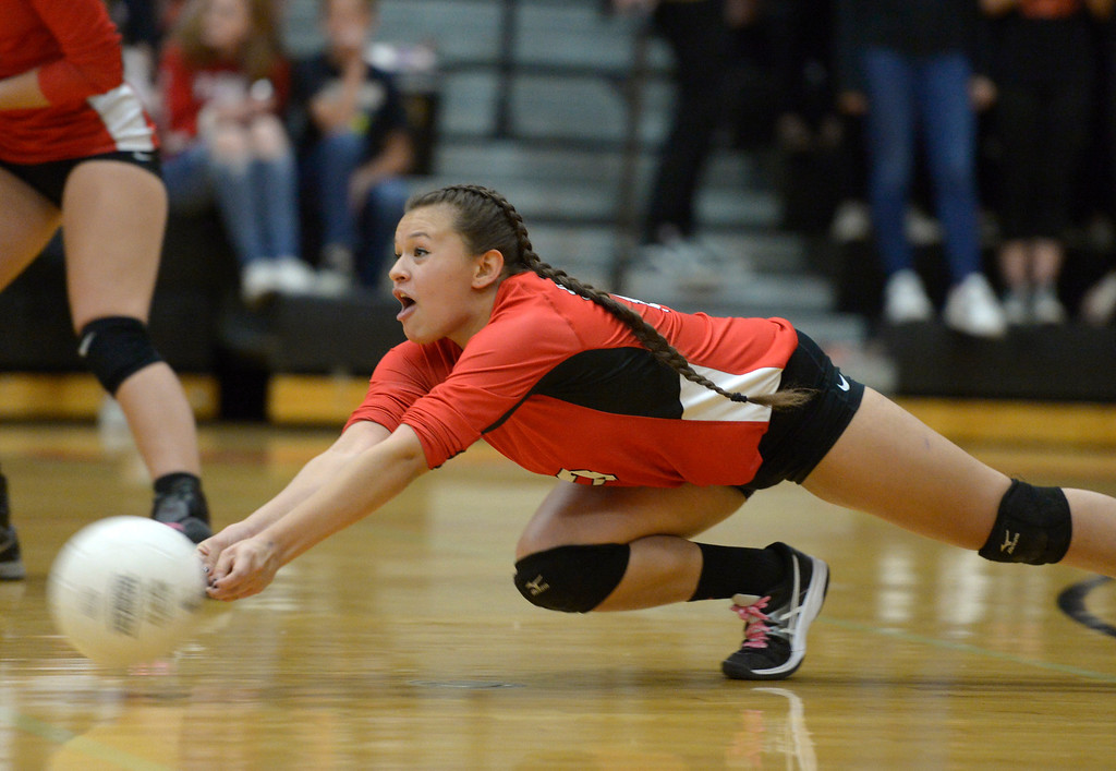 . Skyline\'s Gaby Bustillo can\'t reach the ball in the second set against Erie Tuesday night at Erie High School. To view more photos visit bocopreps.com. Lewis Geyer/Staff Photographer Oct. 24, 62017
