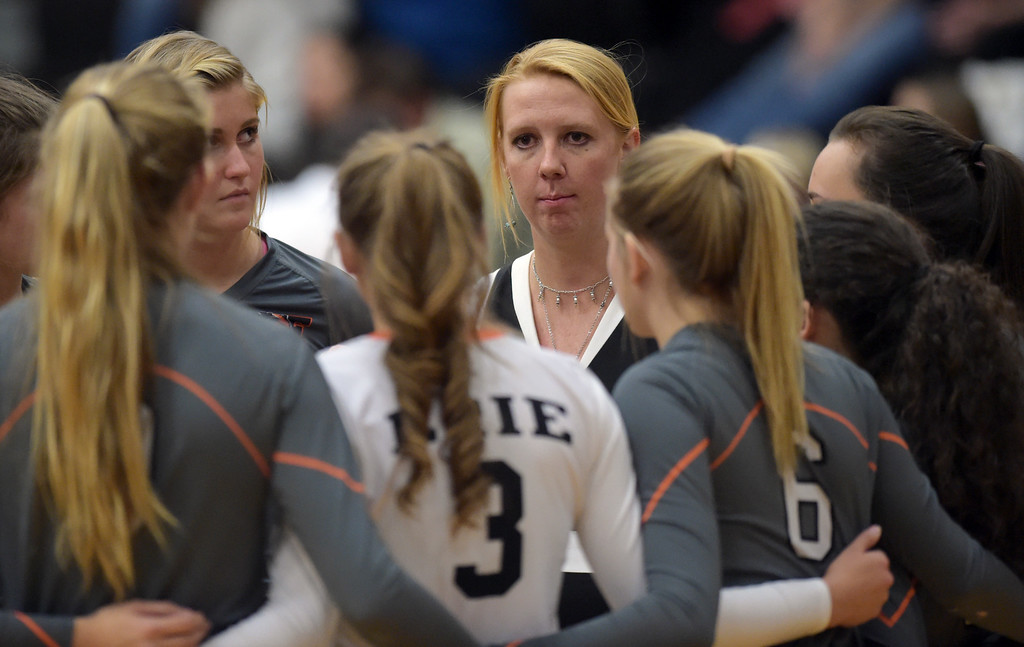 . Erie coach Molly Creek meets with her team during a timeout in the second set against Skyline Tuesday night at Erie High School. To view more photos visit bocopreps.com. Lewis Geyer/Staff Photographer Oct. 24, 62017