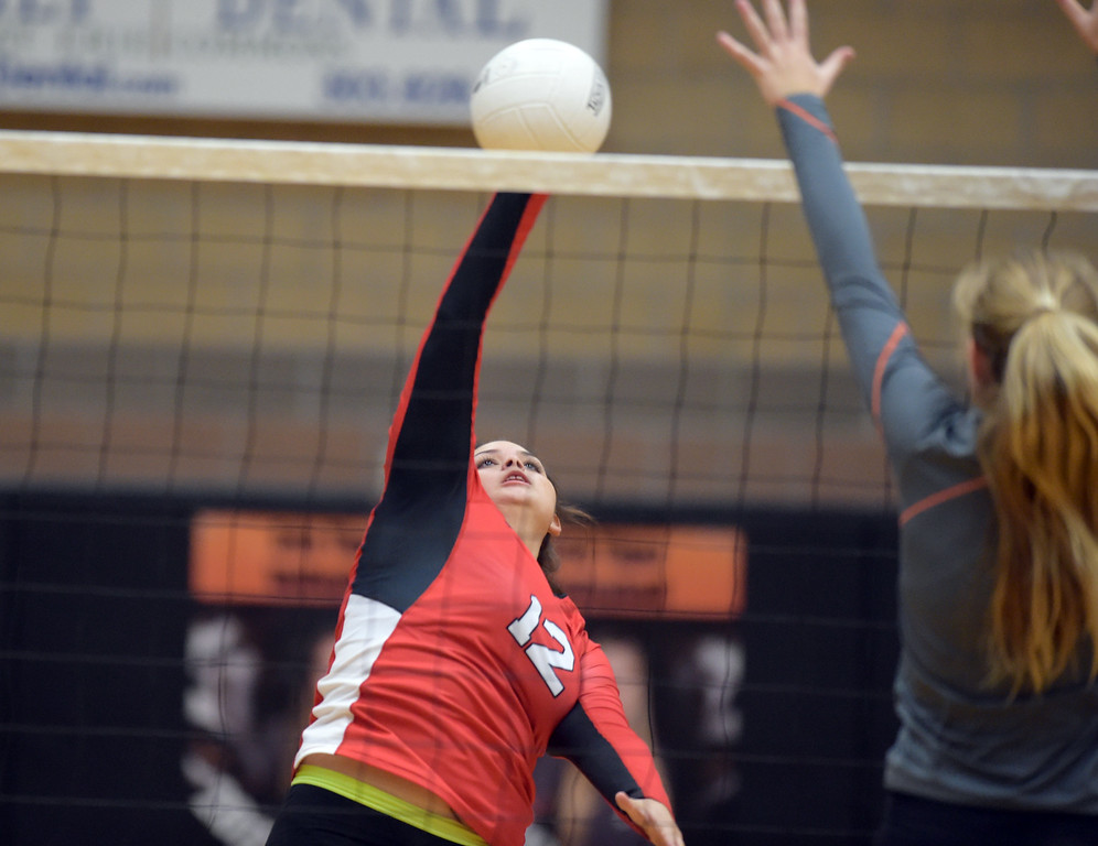 . Skyline\'s Hannah Bolitho sends the ball over the net in the second set against Erie Tuesday night at Erie High School. To view more photos visit bocopreps.com. Lewis Geyer/Staff Photographer Oct. 24, 62017