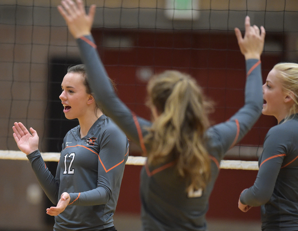 . Erie\'s Haley Hahn celebrates a point scored against Skyline Tuesday night at Erie High School. To view more photos visit bocopreps.com. Lewis Geyer/Staff Photographer Oct. 24, 62017