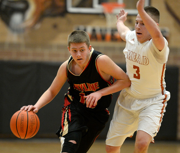Mead's James Maher covers Skyline's Braden Blick in the first quarter Friday night at Mead High School. <br /> Lewis Geyer/Staff Photographer<br /> Feb. 12, 2016